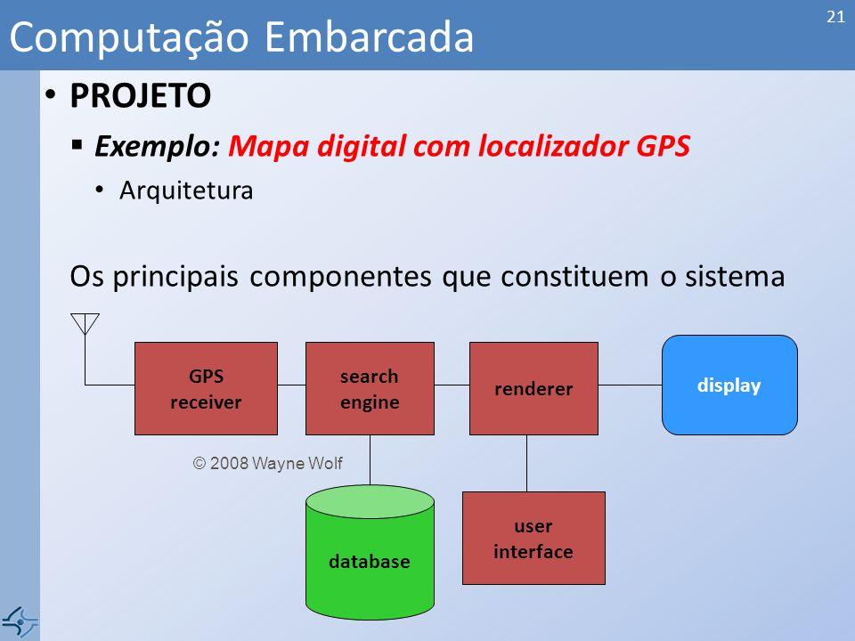 PROJETO Exemplo: Mapa digital com localizador GPS Especificação a)Formato da informação recebida pelo GPS; b)Padrão dos dados salvos no banco de dados