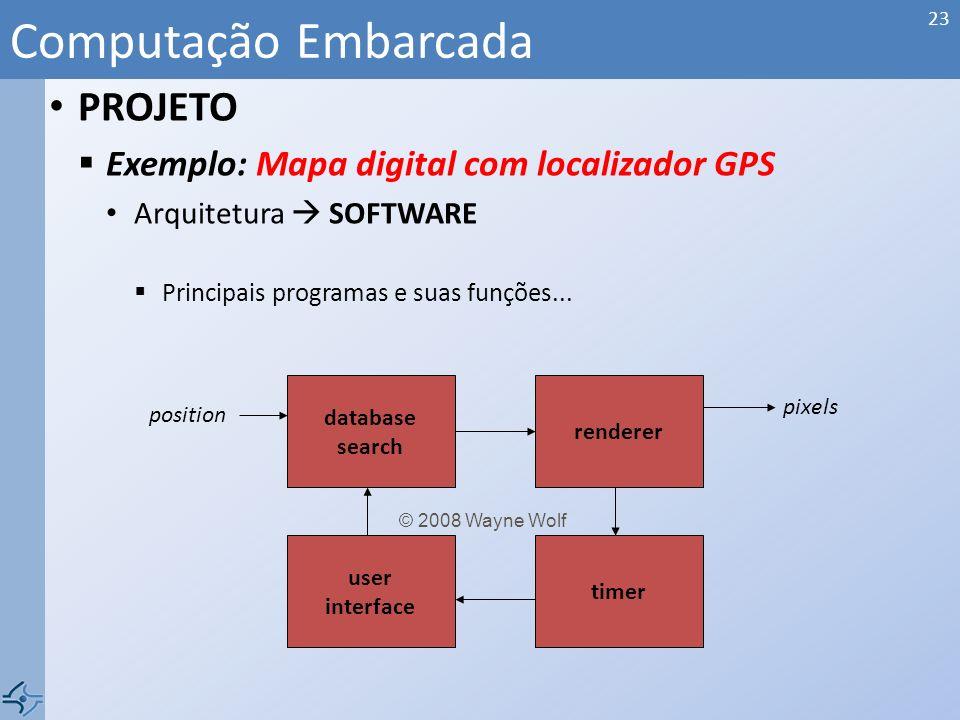 PROJETO Exemplo: Mapa digital com localizador GPS Arquitetura HARDWARE CPU? Memória? Antena?.... Computação Embarcada 22 GPS receiver CPU panel I/O di