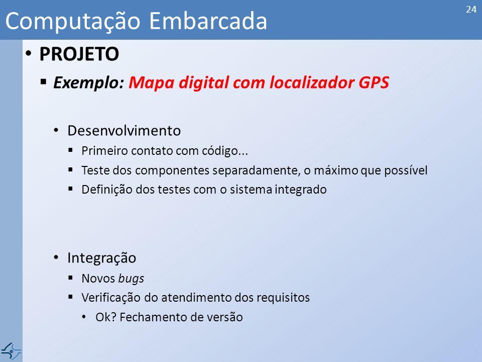 PROJETO Exemplo: Mapa digital com localizador GPS Arquitetura SOFTWARE Principais programas e suas funções... Computação Embarcada 23 position databas