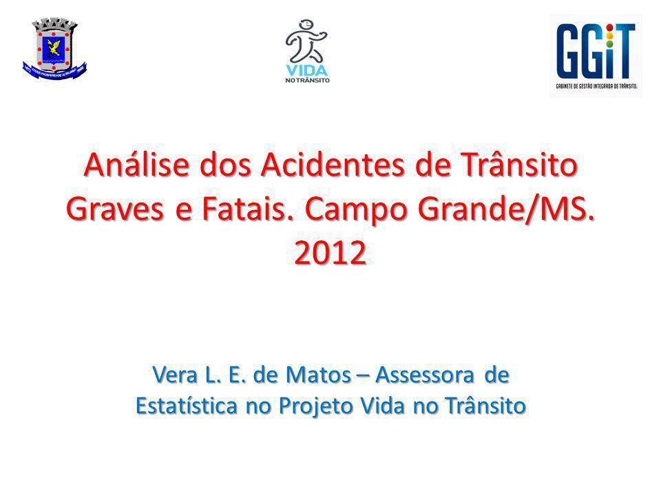 Análise dos Acidentes de Trânsito Graves e Fatais. Campo Grande/MS. 2012 Vera L. E. de Matos – Assessora de Estatística no Projeto Vida no Trânsito