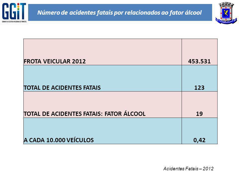 Número de acidentes fatais por relacionados ao fator álcool Acidentes Fatais – 2012 FROTA VEICULAR 2012453.531 TOTAL DE ACIDENTES FATAIS123 TOTAL DE A