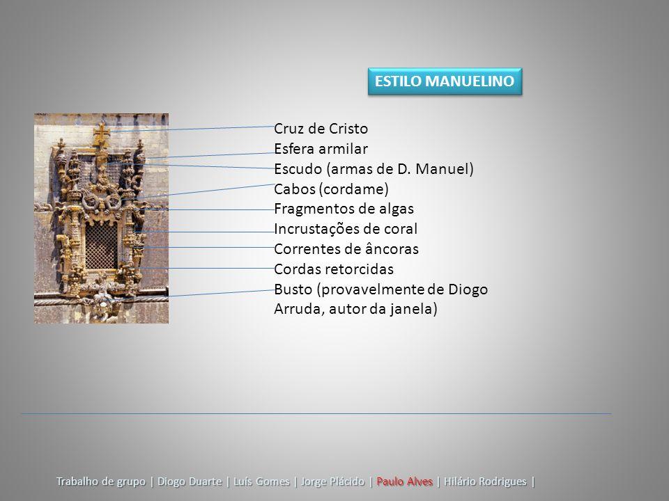 Cruz de Cristo Esfera armilar Escudo (armas de D. Manuel) Cabos (cordame) Fragmentos de algas Incrustações de coral Correntes de âncoras Cordas retorc