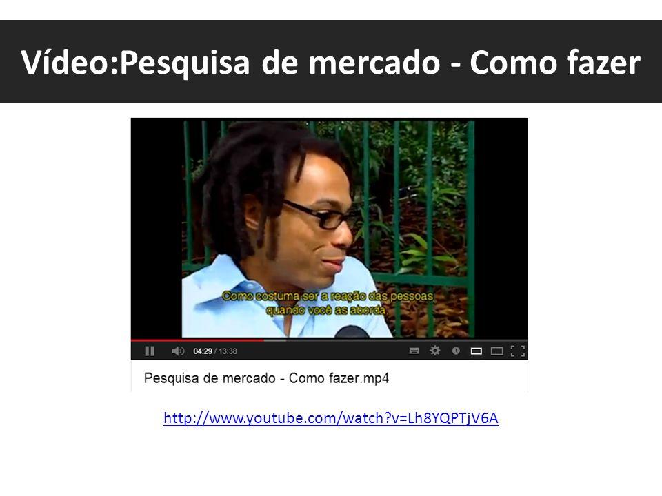 Vídeo:Pesquisa de mercado - Como fazer http://www.youtube.com/watch?v=Lh8YQPTjV6A