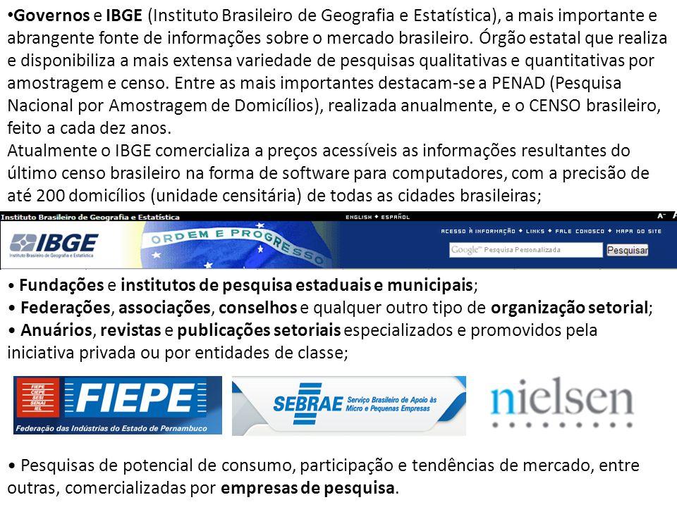 Governos e IBGE (Instituto Brasileiro de Geografia e Estatística), a mais importante e abrangente fonte de informações sobre o mercado brasileiro. Órg