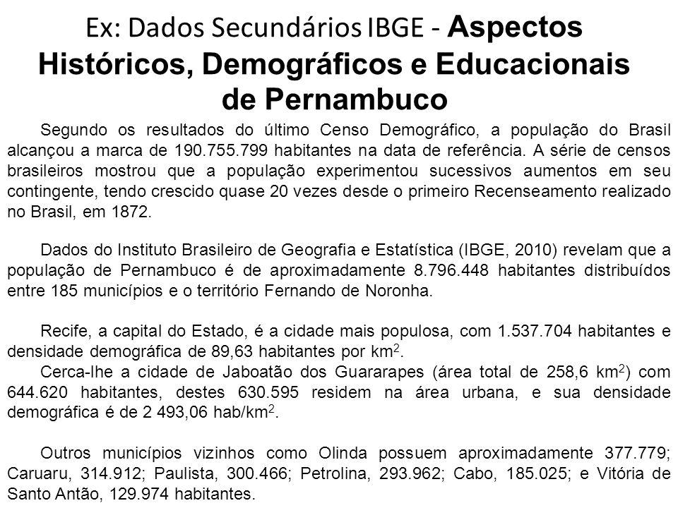 Ex: Dados Secundários IBGE - Aspectos Históricos, Demográficos e Educacionais de Pernambuco Segundo os resultados do último Censo Demográfico, a popul