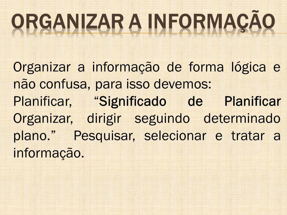 Organizar a informação de forma lógica e não confusa, para isso devemos: Planificar, Significado de Planificar Organizar, dirigir seguindo determinado