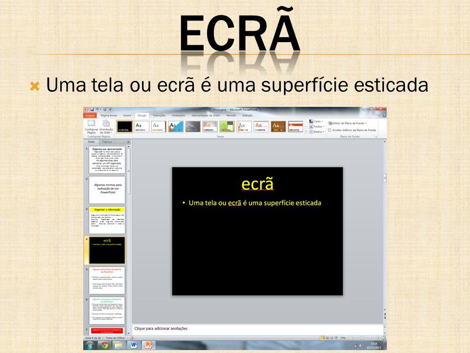 Mostra ou oculta o cursor em forma de seta E ou PONTO Exibe uma tela preta ou retorna à apresentação de slides a partir de uma tela preta.