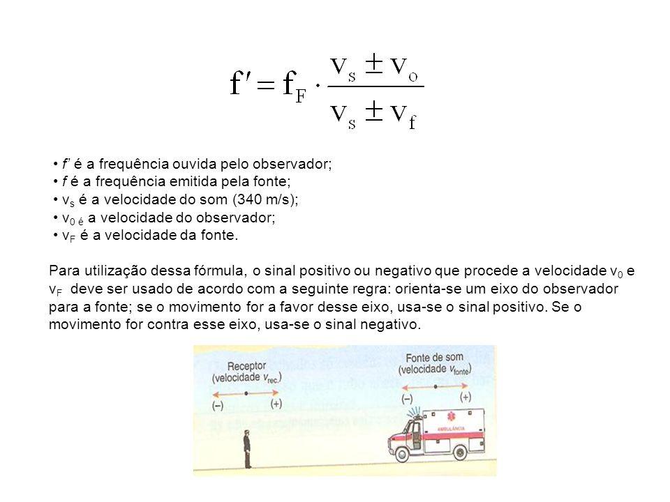 f é a frequência ouvida pelo observador; f é a frequência emitida pela fonte; v s é a velocidade do som (340 m/s); v 0 é a velocidade do observador; v F é a velocidade da fonte.