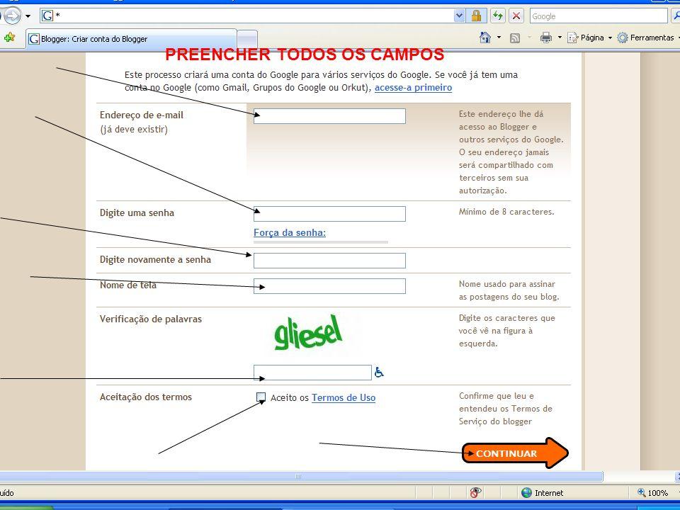 PREENCHER TODOS OS CAMPOS