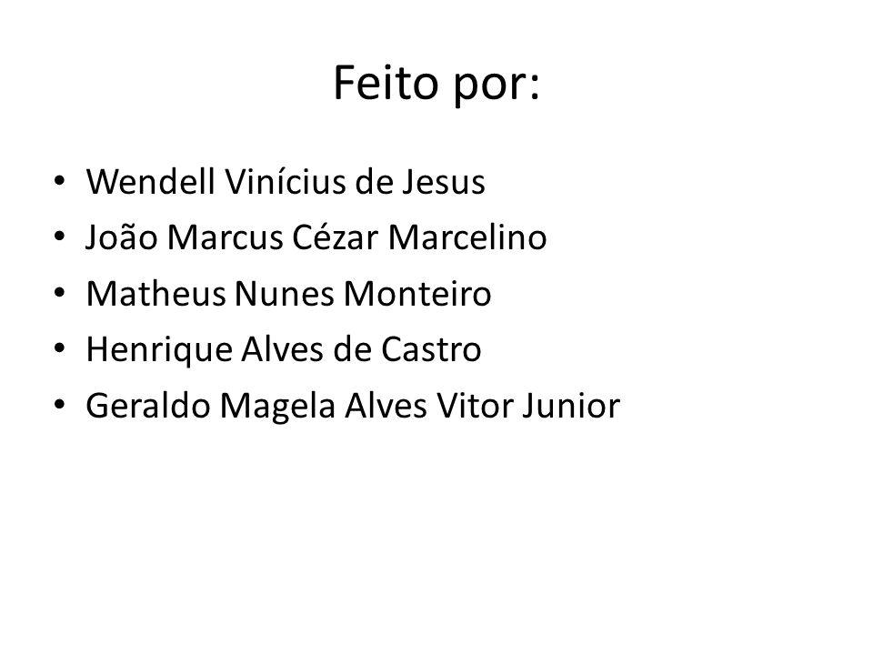 Feito por: Wendell Vinícius de Jesus João Marcus Cézar Marcelino Matheus Nunes Monteiro Henrique Alves de Castro Geraldo Magela Alves Vitor Junior