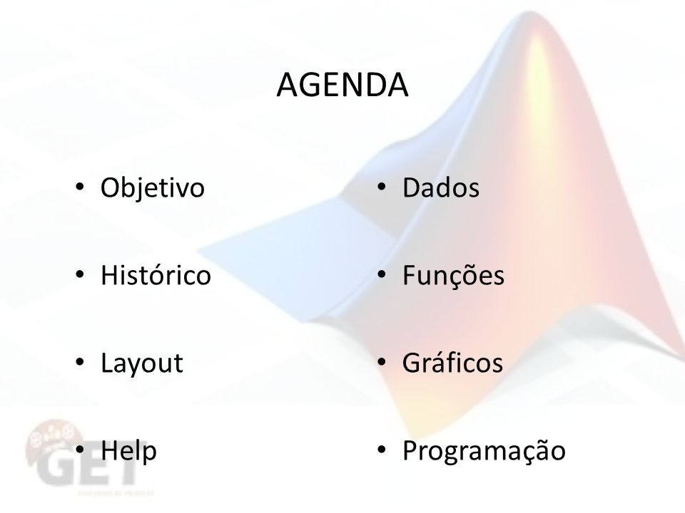 AGENDA Objetivo Histórico Layout Help Dados Funções Gráficos Programação