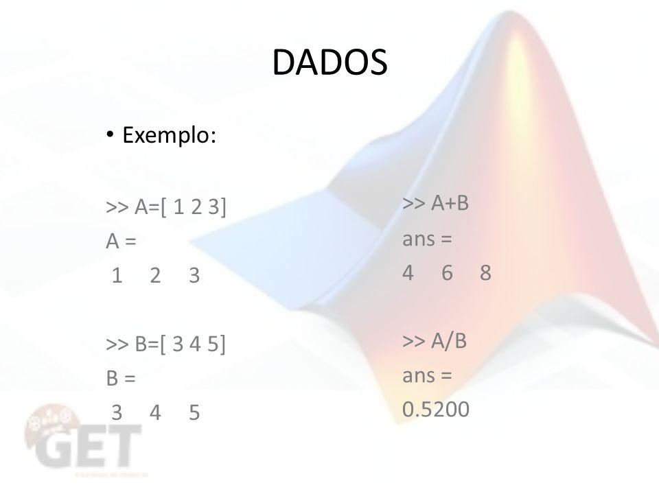 DADOS Exemplo: >> A=[ 1 2 3] A = 1 2 3 >> B=[ 3 4 5] B = 3 4 5 >> A+B ans = 4 6 8 >> A/B ans = 0.5200