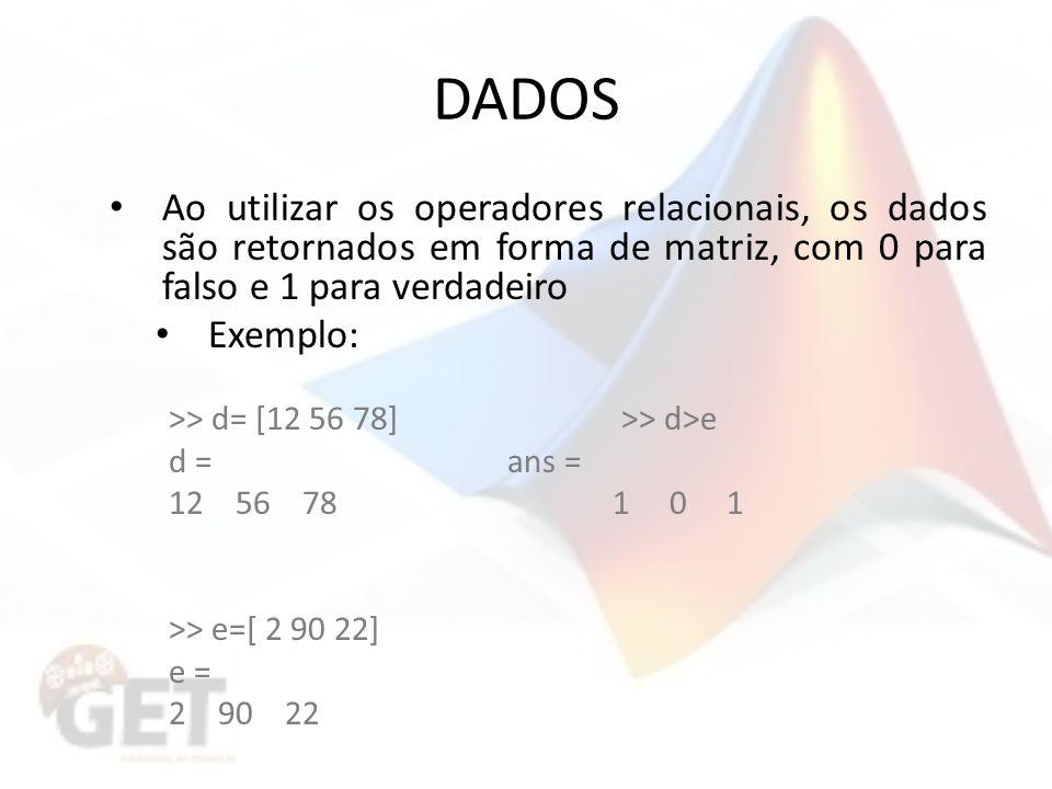 DADOS Ao utilizar os operadores relacionais, os dados são retornados em forma de matriz, com 0 para falso e 1 para verdadeiro Exemplo: >> d= [12 56 78] >> d>e d = ans = 12 56 78 1 0 1 >> e=[ 2 90 22] e = 2 90 22