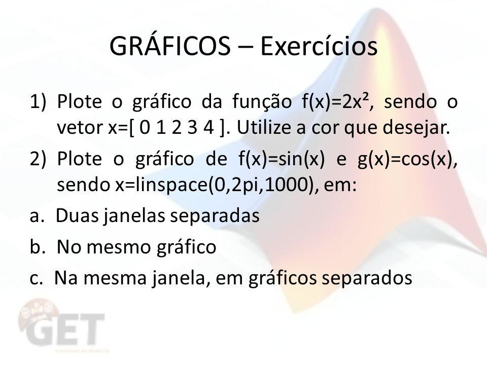 GRÁFICOS – Exercícios 1)Plote o gráfico da função f(x)=2x², sendo o vetor x=[ 0 1 2 3 4 ].