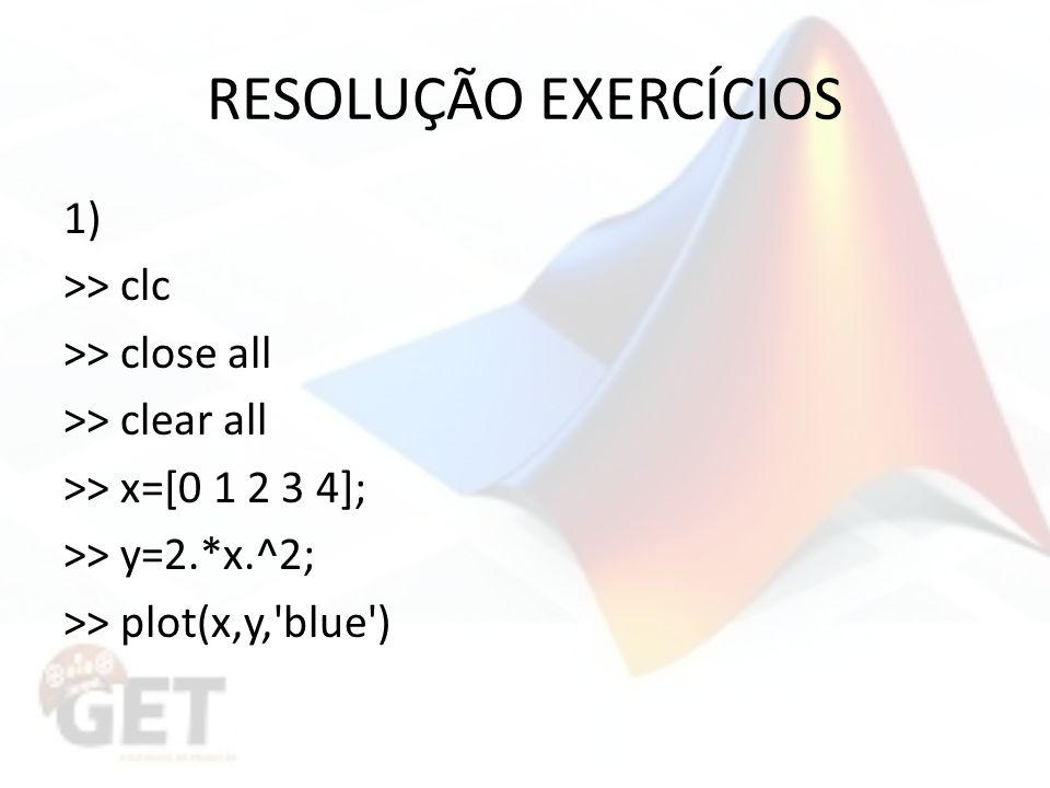RESOLUÇÃO EXERCÍCIOS 1) >> clc >> close all >> clear all >> x=[0 1 2 3 4]; >> y=2.*x.^2; >> plot(x,y, blue )