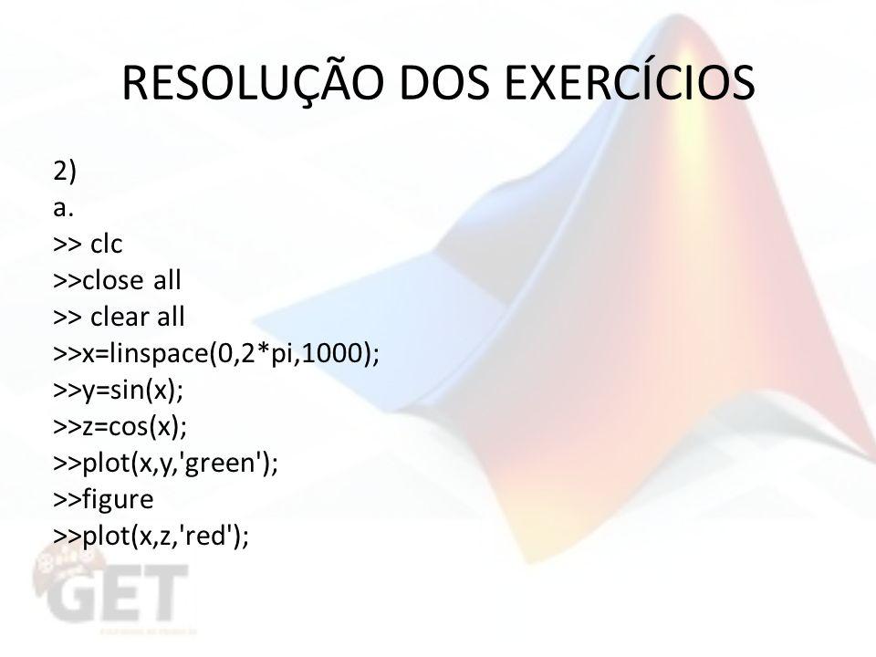 RESOLUÇÃO DOS EXERCÍCIOS 2) a.