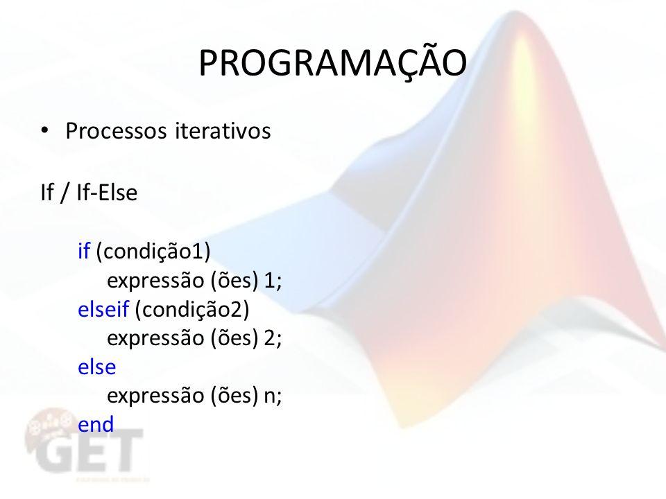 PROGRAMAÇÃO Processos iterativos If / If-Else if (condição1) expressão (ões) 1; elseif (condição2) expressão (ões) 2; else expressão (ões) n; end