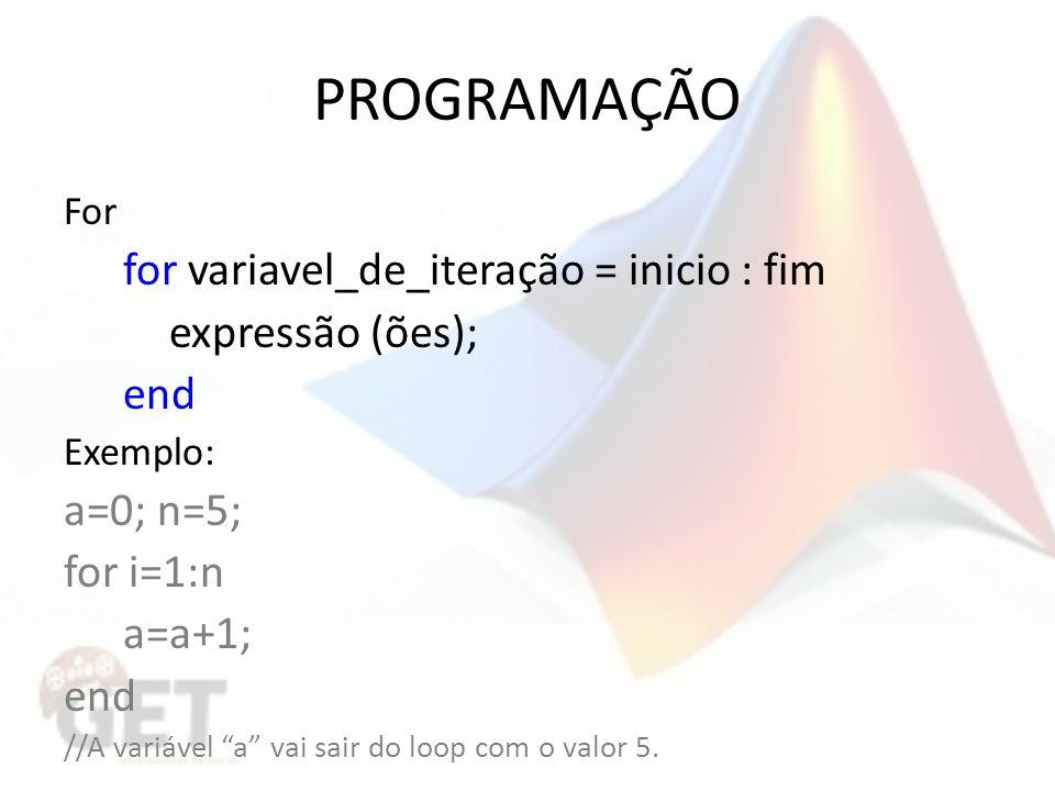 PROGRAMAÇÃO For for variavel_de_iteração = inicio : fim expressão (ões); end Exemplo: a=0; n=5; for i=1:n a=a+1; end //A variável a vai sair do loop com o valor 5.