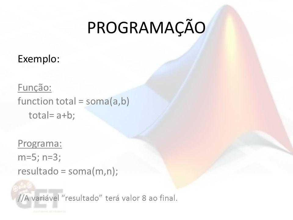 PROGRAMAÇÃO Exemplo: Função: function total = soma(a,b) total= a+b; Programa: m=5; n=3; resultado = soma(m,n); //A variável resultado terá valor 8 ao final.