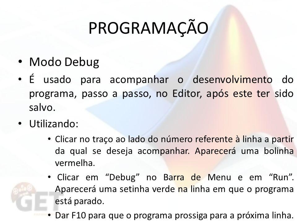 PROGRAMAÇÃO Modo Debug É usado para acompanhar o desenvolvimento do programa, passo a passo, no Editor, após este ter sido salvo.
