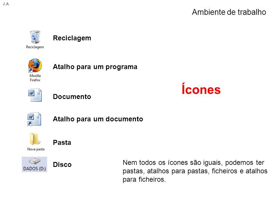 Ícones Nem todos os ícones são iguais, podemos ter pastas, atalhos para pastas, ficheiros e atalhos para ficheiros. J.A. Ambiente de trabalho Reciclag