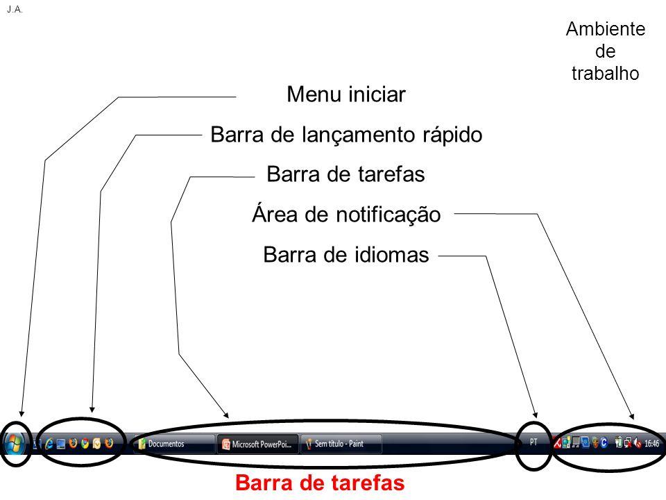 Barra de tarefas Menu iniciar Barra de lançamento rápido Barra de tarefas Área de notificação Barra de idiomas J.A. Ambiente de trabalho