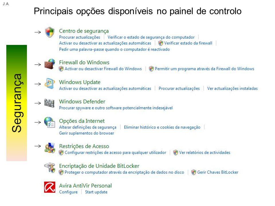 Principais opções disponíveis no painel de controlo J.A. Segurança