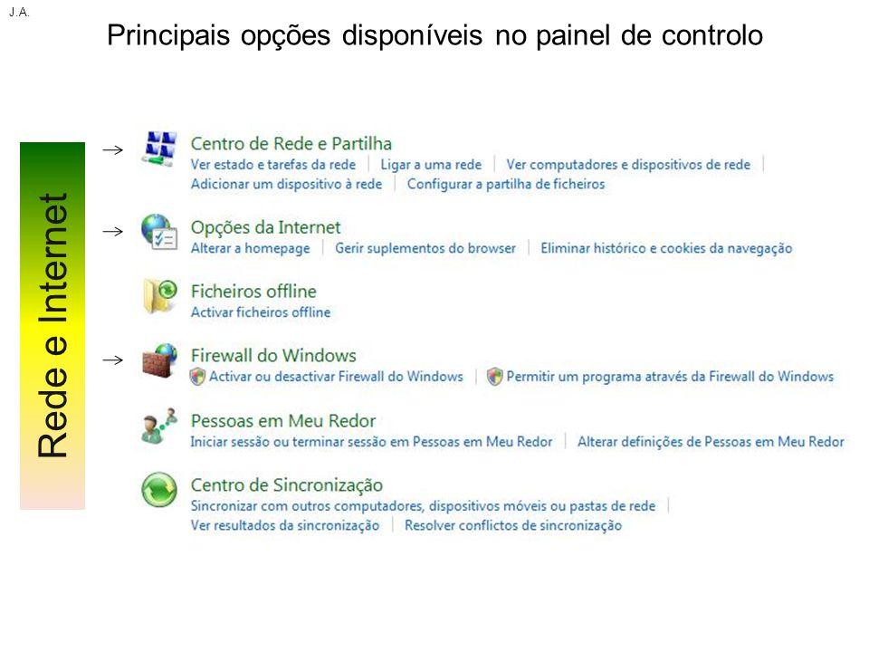 Principais opções disponíveis no painel de controlo J.A. Rede e Internet