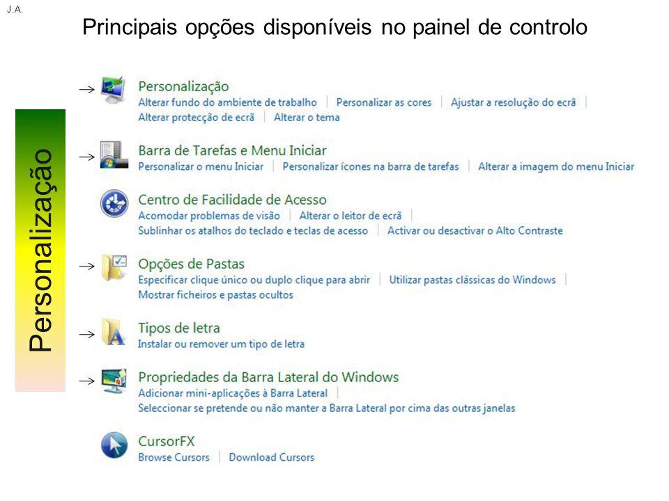 Principais opções disponíveis no painel de controlo J.A. Personalização