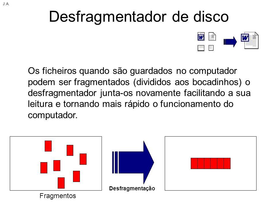 Desfragmentador de disco Os ficheiros quando são guardados no computador podem ser fragmentados (divididos aos bocadinhos) o desfragmentador junta-os