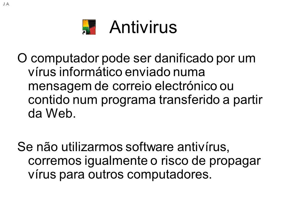 Antivirus O computador pode ser danificado por um vírus informático enviado numa mensagem de correio electrónico ou contido num programa transferido a