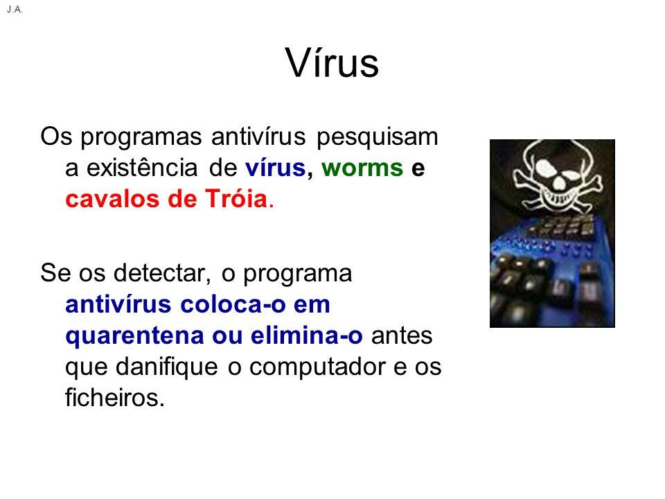 Vírus Os programas antivírus pesquisam a existência de vírus, worms e cavalos de Tróia. Se os detectar, o programa antivírus coloca-o em quarentena ou