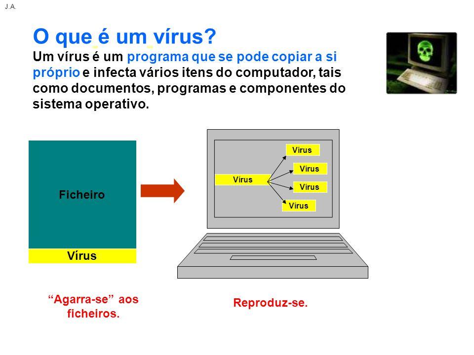 O que é um vírus? Um vírus é um programa que se pode copiar a si próprio e infecta vários itens do computador, tais como documentos, programas e compo