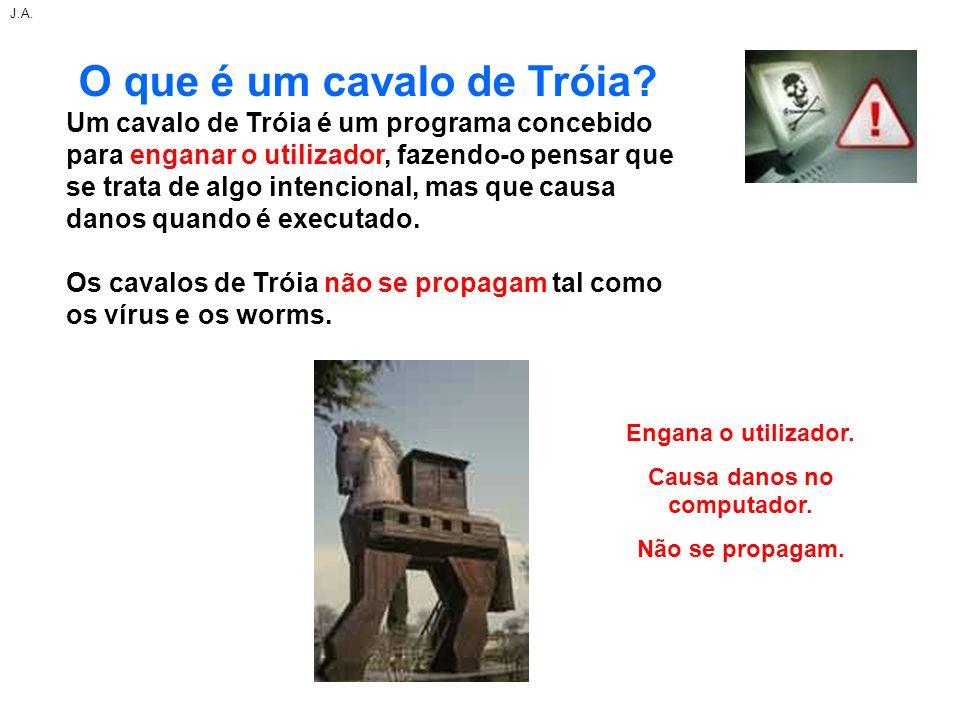 O que é um cavalo de Tróia? Um cavalo de Tróia é um programa concebido para enganar o utilizador, fazendo-o pensar que se trata de algo intencional, m