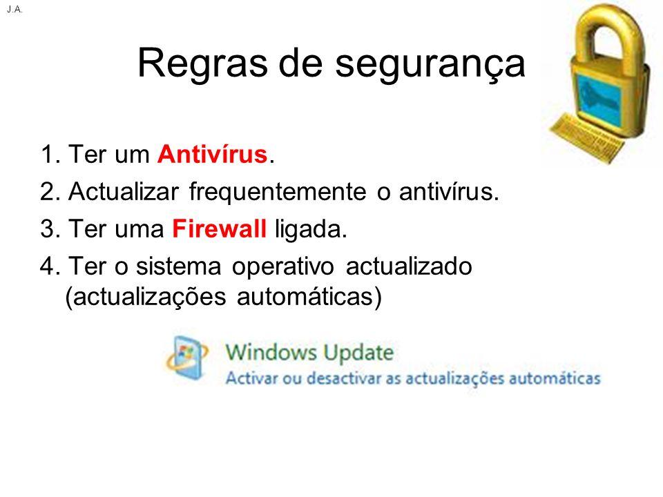 Regras de segurança 1. Ter um Antivírus. 2. Actualizar frequentemente o antivírus. 3. Ter uma Firewall ligada. 4. Ter o sistema operativo actualizado