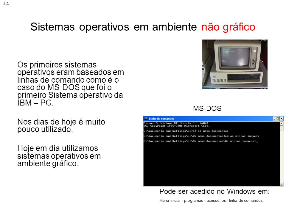 Sistemas operativos em ambiente não gráfico Os primeiros sistemas operativos eram baseados em linhas de comando como é o caso do MS-DOS que foi o prim