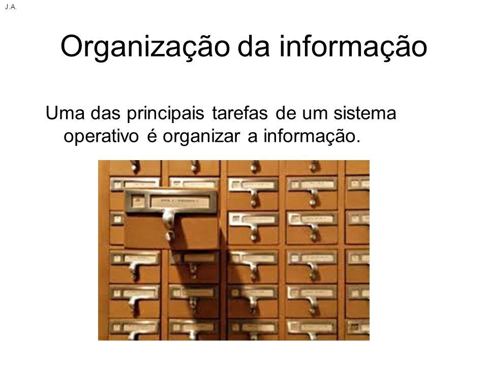 Organização da informação Uma das principais tarefas de um sistema operativo é organizar a informação. J.A.