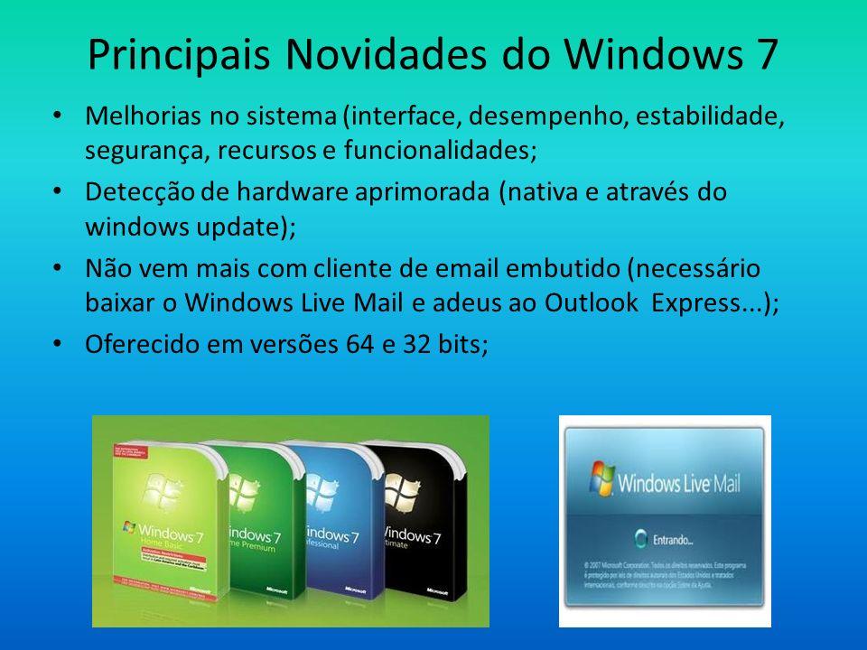 Principais Novidades do Windows 7 Melhorias no sistema (interface, desempenho, estabilidade, segurança, recursos e funcionalidades; Detecção de hardwa