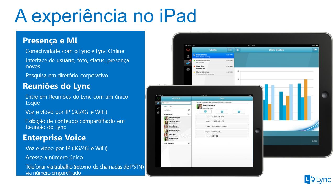 Presença e MI Conectividade com o Lync e Lync Online Interface de usuário, foto, status, presença novos Pesquisa em diretório corporativo Reuniões do