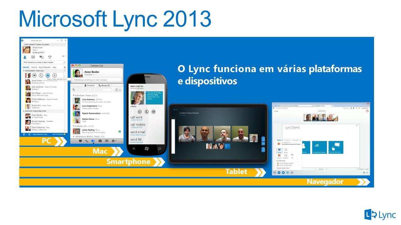 O Lync funciona em várias plataformas e dispositivos Navegador Tablet Smartphone Mac PC