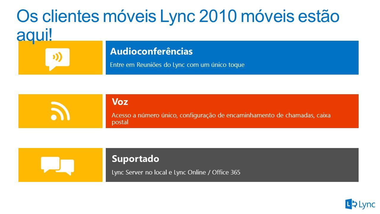 Audioconferências Entre em Reuniões do Lync com um único toque Voz Acesso a número único, configuração de encaminhamento de chamadas, caixa postal Suportado Lync Server no local e Lync Online / Office 365
