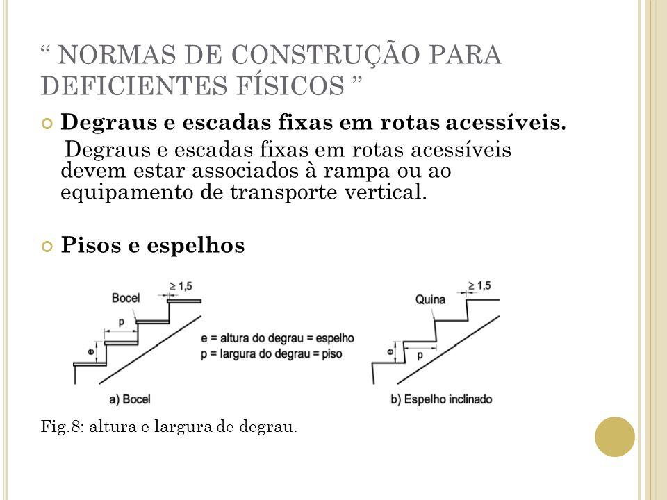 NORMAS DE CONSTRUÇÃO PARA DEFICIENTES FÍSICOS Degraus e escadas fixas em rotas acessíveis. Degraus e escadas fixas em rotas acessíveis devem estar ass