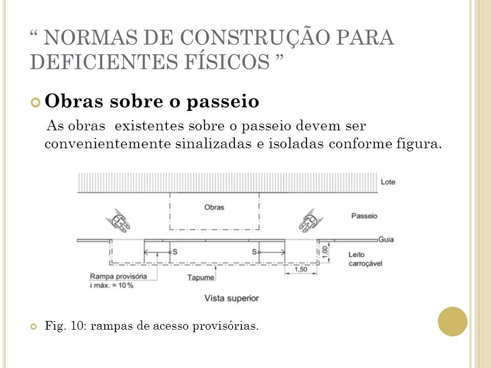 NORMAS DE CONSTRUÇÃO PARA DEFICIENTES FÍSICOS Obras sobre o passeio As obras existentes sobre o passeio devem ser convenientemente sinalizadas e isola