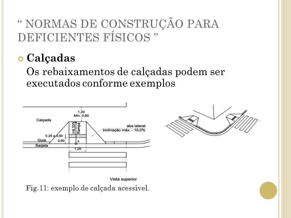 NORMAS DE CONSTRUÇÃO PARA DEFICIENTES FÍSICOS Calçadas Os rebaixamentos de calçadas podem ser executados conforme exemplos Fig.11: exemplo de calçada