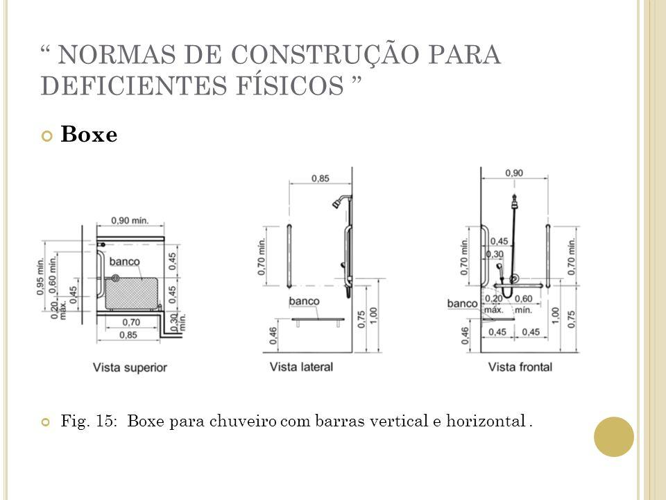 NORMAS DE CONSTRUÇÃO PARA DEFICIENTES FÍSICOS Boxe Fig. 15: Boxe para chuveiro com barras vertical e horizontal.