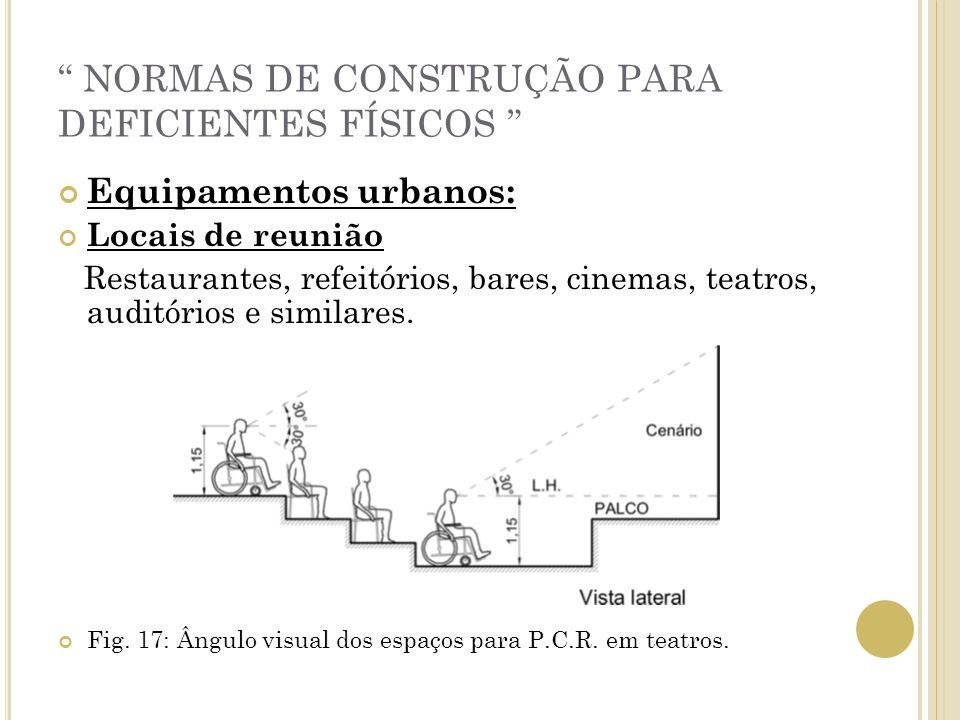 NORMAS DE CONSTRUÇÃO PARA DEFICIENTES FÍSICOS Equipamentos urbanos: Locais de reunião Restaurantes, refeitórios, bares, cinemas, teatros, auditórios e