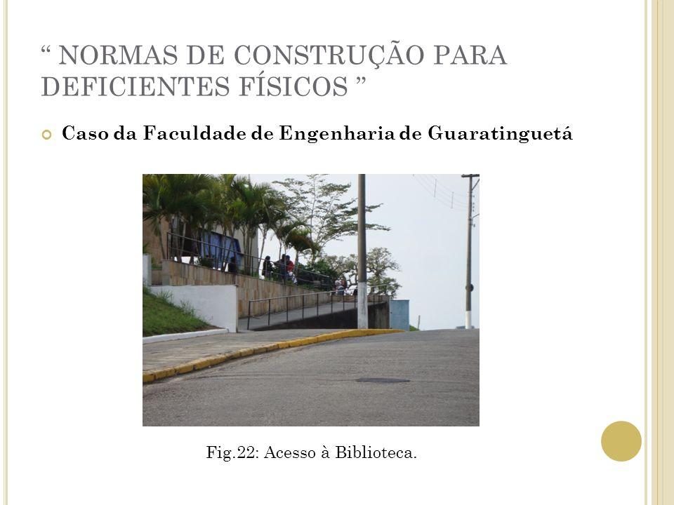 NORMAS DE CONSTRUÇÃO PARA DEFICIENTES FÍSICOS Caso da Faculdade de Engenharia de Guaratinguetá Fig.22: Acesso à Biblioteca.