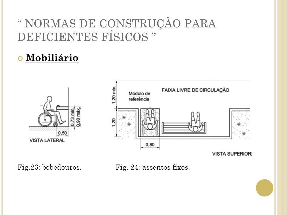 NORMAS DE CONSTRUÇÃO PARA DEFICIENTES FÍSICOS Mobiliário Fig.23: bebedouros. Fig. 24: assentos fixos.