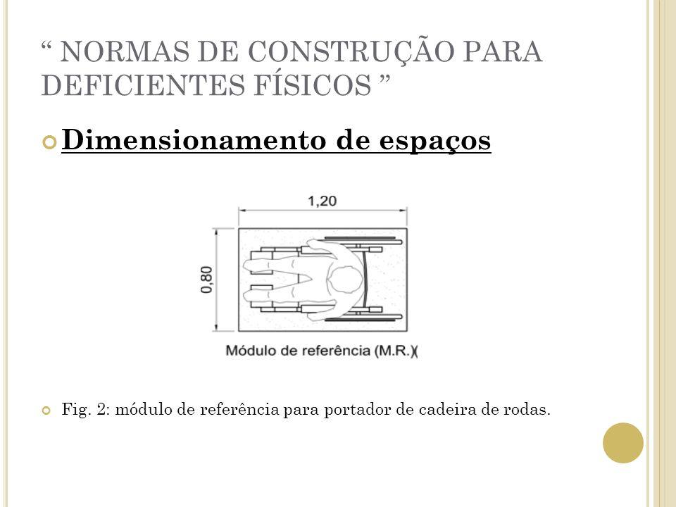 NORMAS DE CONSTRUÇÃO PARA DEFICIENTES FÍSICOS Dimensionamento de espaços Fig. 2: módulo de referência para portador de cadeira de rodas.