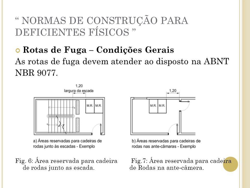 NORMAS DE CONSTRUÇÃO PARA DEFICIENTES FÍSICOS Rotas de Fuga – Condições Gerais As rotas de fuga devem atender ao disposto na ABNT NBR 9077. Fig. 6: Ár